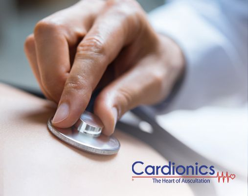 cardionics logo and auscultation in background