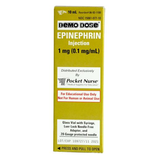 Demo Dose® EPINEPHrin Adrenaln 10mL Syringe, 3011243, Simulated Medications