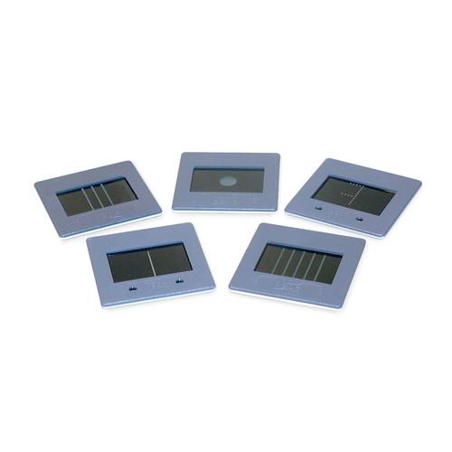 Set of 5 Slit and Hole Diaphragms, 1000607 [U17040], Apertures, Diffraction Elements and Filters