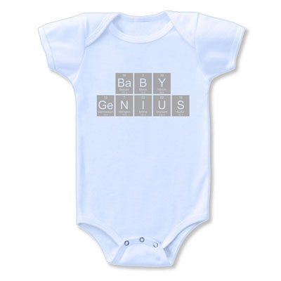 Organic Baby Genius Periodic Table Onesie Blue Pink Or Green