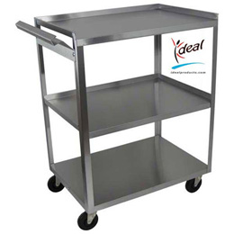 3 Shelf Stainless Steel Utility Cart with Handle, W56105H, Carts