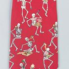 "Necktie ""Eating skeleton"", Red- Silk,W41064"