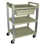 Three Shelf Poly Cart with Drawer,W56110D
