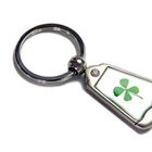 W59637: Embedded Lucky Shamrock Key Rings